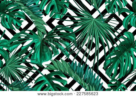 Vector Tropical Leaves Summer Seamless Pattern Abstract Geometric Background Template. Jungle Forest
