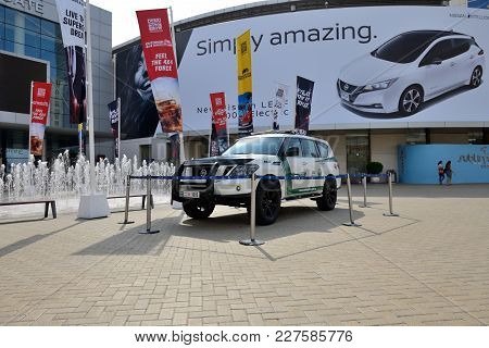 Dubai, Uae - November 17: The Nissan Patrol Of Dubai Police Car Is On Dubai Motor Show 2017 On Novem