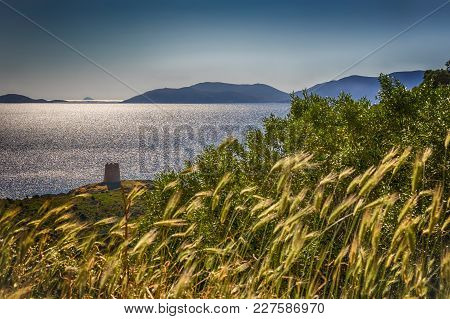 A View Of The Saracen Tower On The Sardinian Coast, Close To Cagliari, Italy