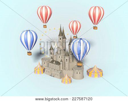 Amusement Park, Carnival, Fun Fair, Circus, Day Scene Festival 3d Illustration
