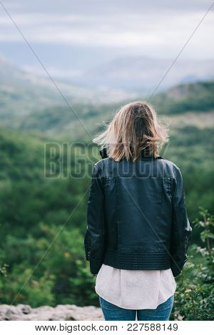 Rear view of woman watching scenery