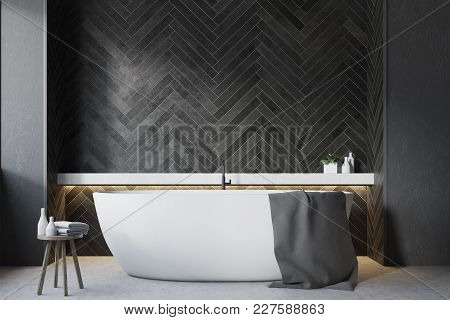 Bathroom Interior With Black Wooden Walls, A Large Round Tub And A Wooden Chiar. 3d Rendering Mock U