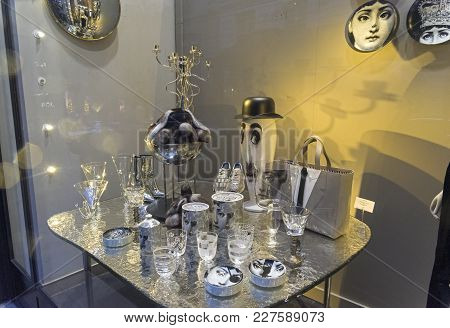 Paris, France - December 10, 2017: Decoration Of The Department Store Window  In The Style Of The Tw