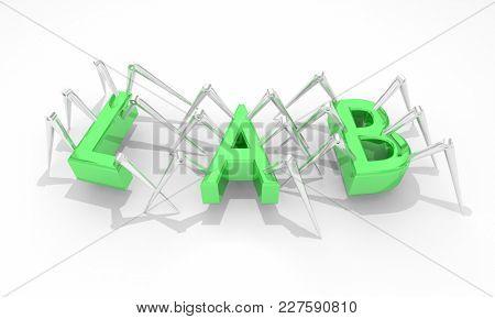 Lab Science Laboratory Invention Word 3d Illustration
