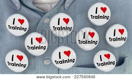 I Love Training Heart Pins Employee Skills Learning Education 3d Illustration