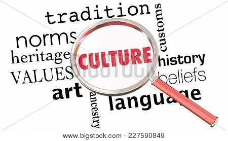 Culture Tradition History Heritage Magnifying Glass 3d Illustration