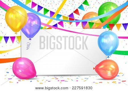 Happy Birthday Design. Realistic Colorful Helium Balloons, Flags Garlands And White Sheet. Party Dec