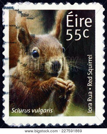 Ireland - Circa 2011: A Stamp Printed In Ireland Shows Red Squirrel, Sciurus Vulgaris, Animal, Circa