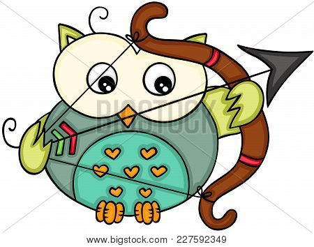 Scalable Vectorial Representing A Cupid Love Owl, Illustration Isolated On White Background.