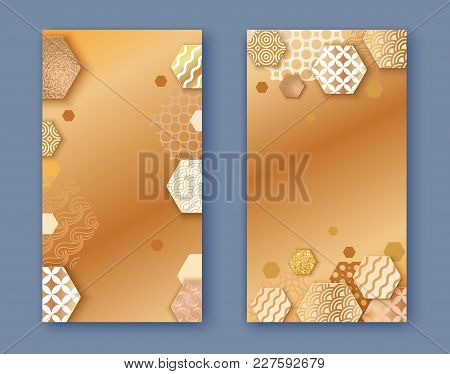 Brochure Or Packaging Design Set,  Two Fold Golden Business Banner Vertical Template Or Background I