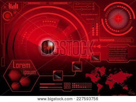 Hud Gui Radar Monitor Screen. Futuristic Game Technology Outer Space Background. Red User Interface