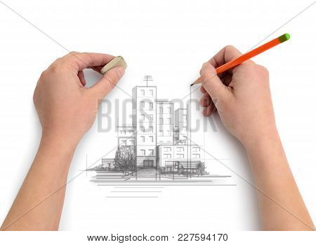 Engineer, Designer, Artist, Draws A Pencil Project Of The City.