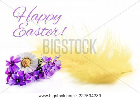 Happy Easter. Easter Yellow Feather And Flower On White Background