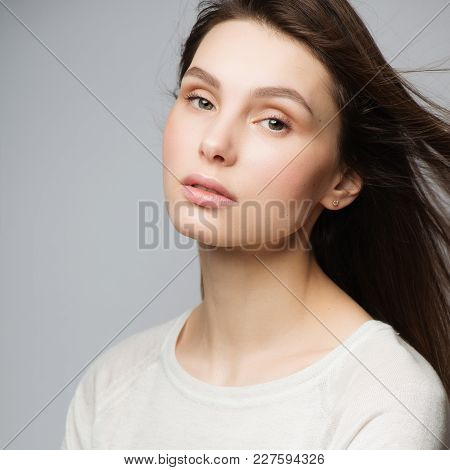 Portrait Beautiful Young Woman With Long Brown Hair.