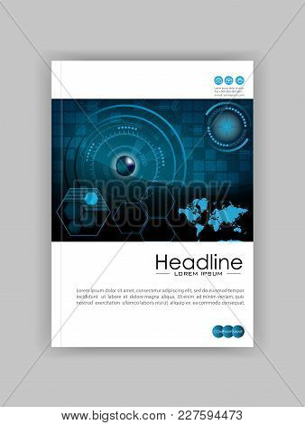 Blue A4 Hud Business Book Cover Design Template. Good For Portfolio, Brochure, Annual Report, Flyer,