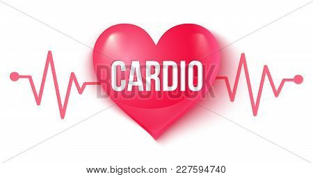 Vector Illustration Of A Pink Heart With Pulse. Heart And Pulse. Cardio Heart.
