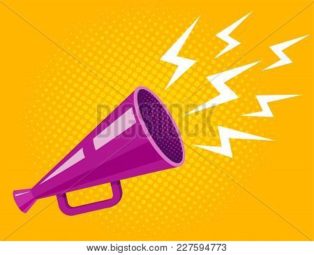 Vector Vintage Poster With Ultraviolet Megaphone On Yellow Halftone Background. Vector Purple Megaph