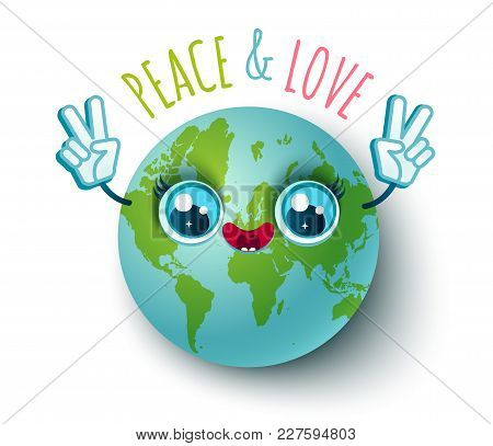 Vector Illustration Of A Planet Earth In Kawaii Style. Planet Earth With Peace Symbol. Peace And Lov
