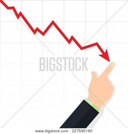 Cost Reduction Concept. Downward Arrow. Finance Decrease Diagram. Decrease Down Profit. Vector Illus