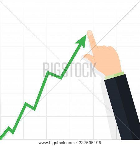 Diagram Up. Profit Concept, Growing Business Graph. Increase Sales. Vector Illustration