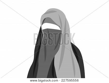 Beautiful Portrait Of Arabic Muslim Woman Closed Face Veil, Vector Illustration Isolated Or White Ba