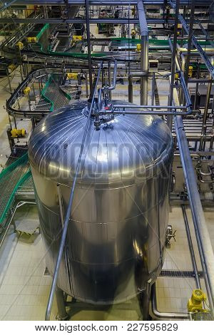 Modern Brewery Production Line. Large Vat For Beer  Fermentation And Maturation. Top View.