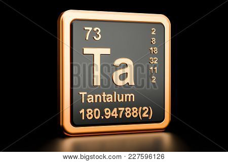 Tantalum Ta, Chemical Element. 3d Rendering Isolated On Black Background