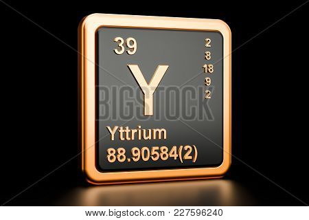 Yttrium Y, Chemical Element. 3d Rendering Isolated On Black Background