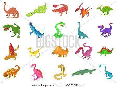 Reptile Icon Set. Cartoon Set Of Reptile Vector Icons For Web Design Isolated On White Background
