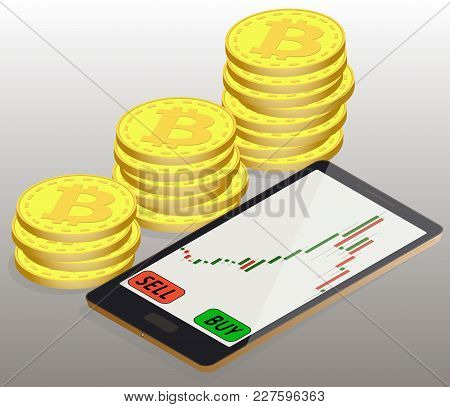 Coins Bitcoin To The Left Of The Phone, Online Buying Of Bitcoin On The Exchange