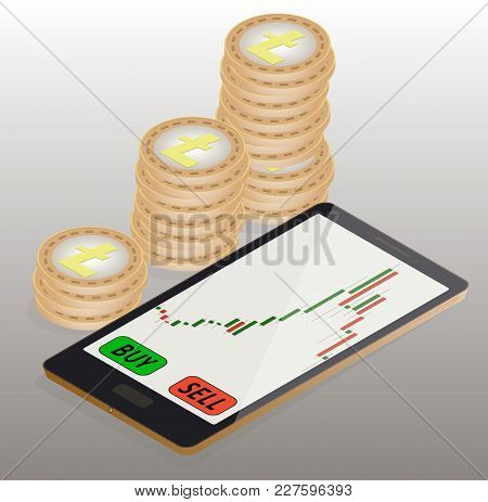Coins Litecoin To The Left Of The Phone, Online Buying Of Litecoin On The Exchange