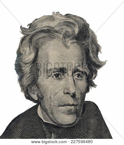 Us President Andrew Jackson Face On Twenty Dollar Bill Macro Isolated, United States Money Closeup.