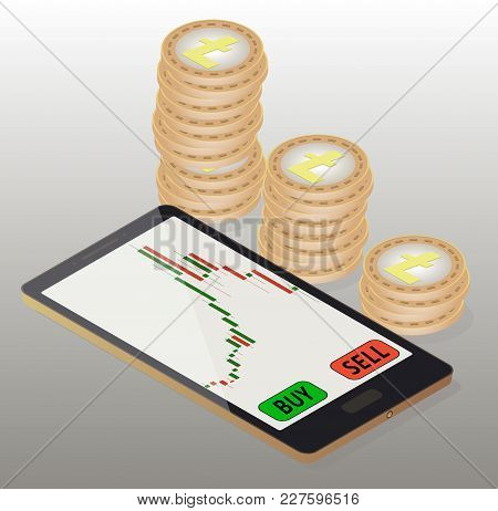 Coins Litecoin To The Right Of The Phone, Online Buying Of Litecoin On The Exchange