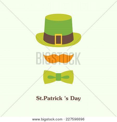 Vector Flat Illustration Icon On Saint Patricks Day Leprechaun With Green Hat