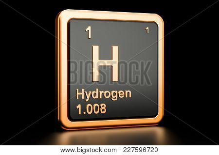 Hydrogen H, Chemical Element. 3d Rendering Isolated On Black Background
