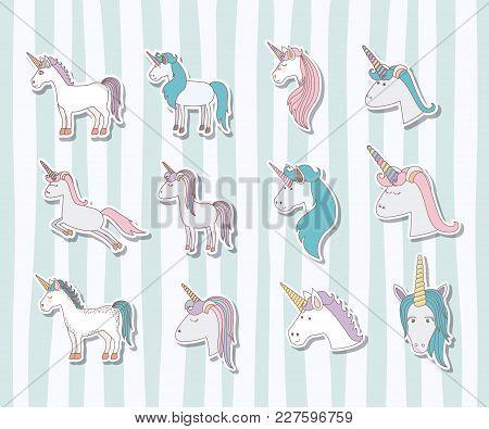 Set Unicorns Poses Icons Vector Illustration Design