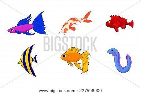 Aquarium Fish Icon Set. Cartoon Set Of Aquarium Fish Vector Icons For Web Design Isolated On White B