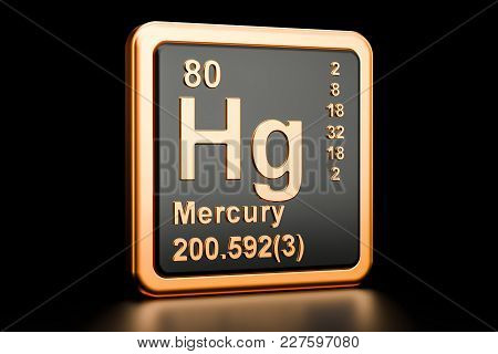 Mercury Hg, Chemical Element. 3d Rendering Isolated On Black Background