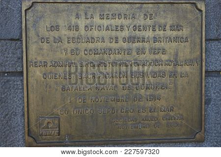 Coronel, Bio Bio Region, Chile - February 1, 2018: Memorial to those who died in the First World War