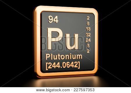 Plutonium Pu, Chemical Element. 3d Rendering Isolated On Black Background