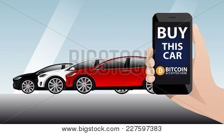 Hand With Phone On The Background Of Cars. On The Screen Of The Device The Inscription
