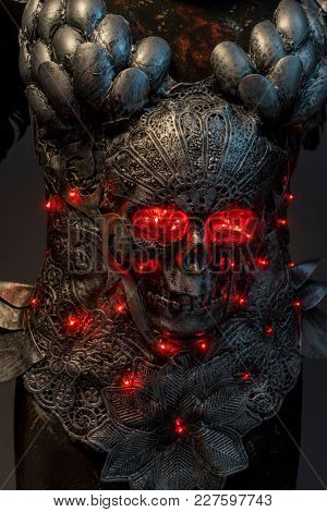 Armor, silver skull with red leds lights in eye sockets, handmade design cosplay or fantasy style