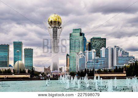Astana, Kazakhstan - August 10, 2017: View To Bayterek And Astana Cityscape. Capital City Of Kazakhs