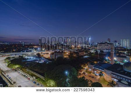 Kuala Lumpur, Malaysia - February 15, 2018: Glorious Sunrise View Of Kuala Lumpur Skyline From The N