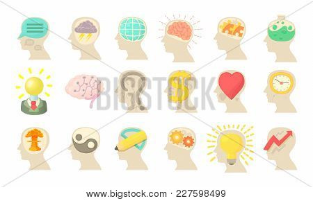 Human Mind Icon Set. Cartoon Set Of Human Mind Vector Icons For Web Design Isolated On White Backgro