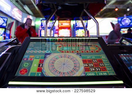 Sofia, Bulgaria - 22 November 2017: Digital Modern Roulette Table Monitor Is Seen In A Casino Equipm