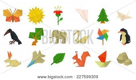 Origami Icon Set. Cartoon Set Of Origami Vector Icons For Web Design Isolated On White Background