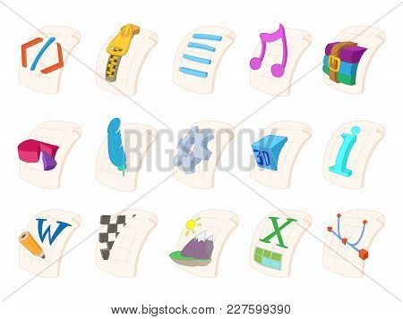 File Type Icon Set. Cartoon Set Of File Type Vector Icons For Web Design Isolated On White Backgroun