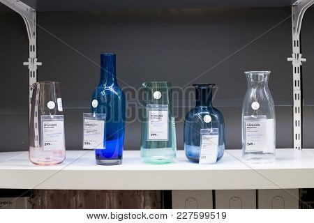 Moscow, Russia - February 10, 2018: Exhibition Sample For Sale Of Different Modern Glassware Vases F