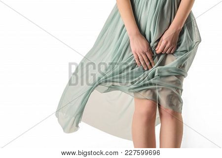 Cropped View Of Sensual Woman In Transparent Dress, Isolated On White